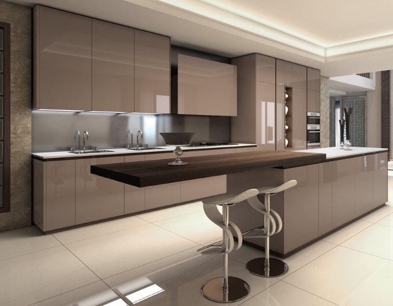 Линейная кухня цвета капучино в стиле минимализма