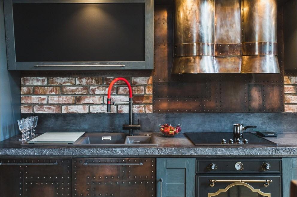 Декорирование фартука на кухне в стиле лофт