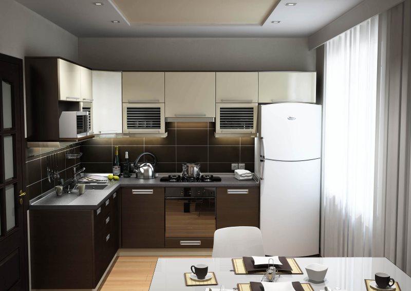 Рабочая зона кухни-гостиной в стиле хай-тек