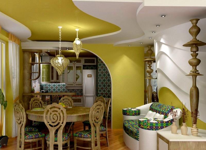 Многоуровневый потолок в кухне восточного стиля