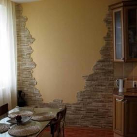 Отделка кухонной стены искусственным камнем