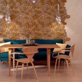 Модная отделка стен в кухне частного дома