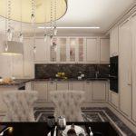 Дизайн кухни с серым гарнитуром