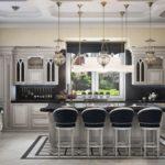 Дизайн кухни-столовой в серо-черных тонах