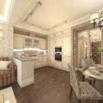 Дизайн кухни-гостиной в стиле неоклассика