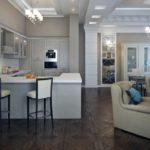Освещение кухни-гостиной с барной стойкой