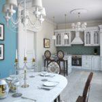 Кухонный стол с фарфоровой посудой