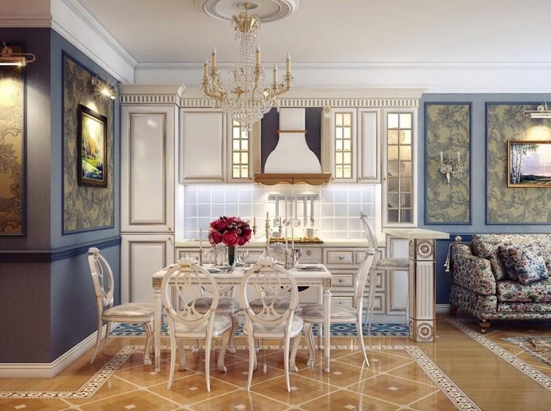 Декор кухни-гостиной в классическом стиле
