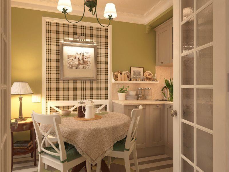 Ситцевая скатерть на обеденном столе в кухне