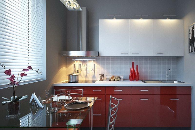 Контрастные фасады кухонной мебели для маленького помещения