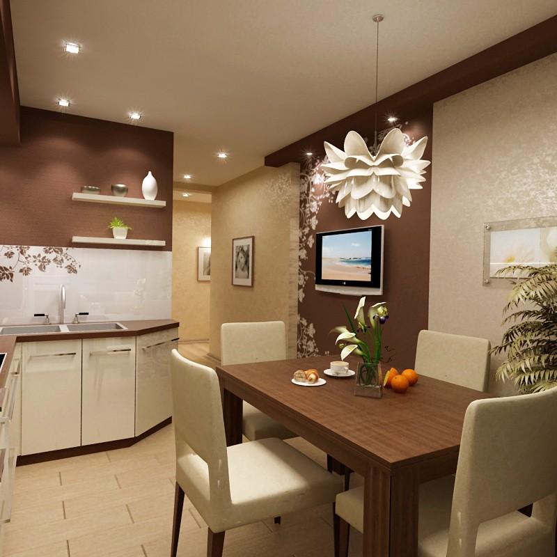 Точечные светильники на потолке кухни с кофейными стенами