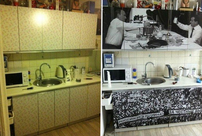 Фото фасадов кухонного гарнитура до и после оклейки