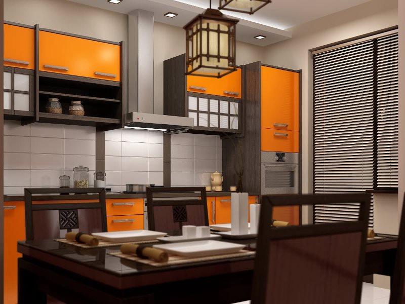 Оранжевые фасады кухни в японском стиле