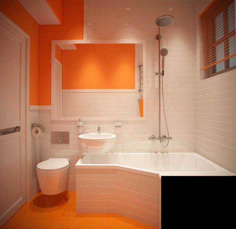 Дизайн современной ванной комнаты с оранжевым полом
