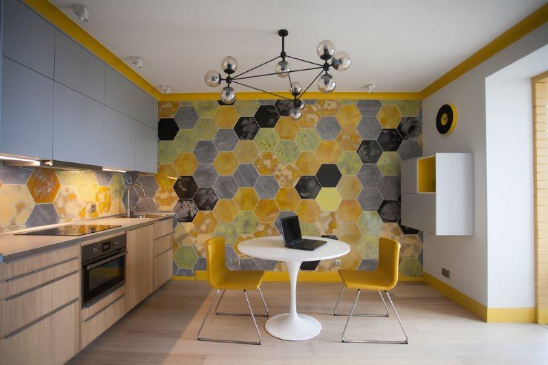 Дизайн кухни в стиле эклектика с гарнитуром линейной планировки
