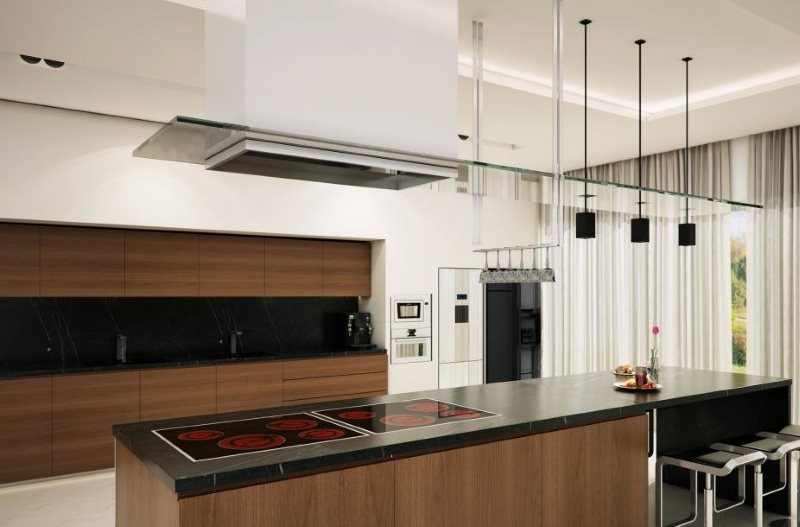 Островная вытяжка в кухне современного стиля