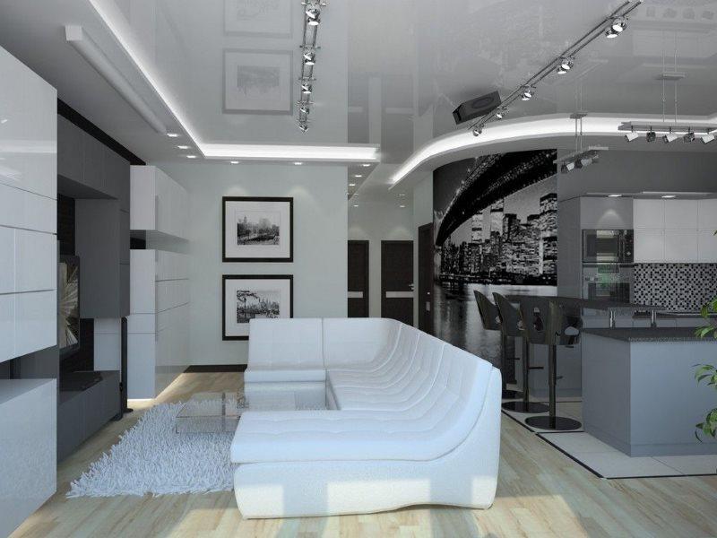 Светодиодная подсветка потолка в кухне стиля хай-тек