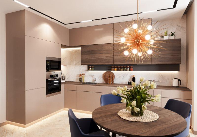 Освещение угловой кухни с мебелью цвета капучино