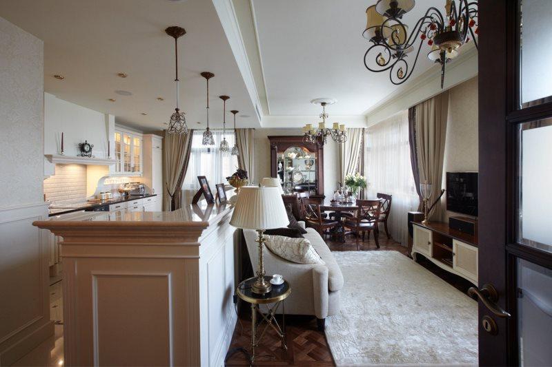 Двухуровневый потолок в кухне неоклассического стиля