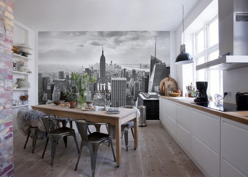 Фотообои в интерьере кухни с линейным гарнитуром