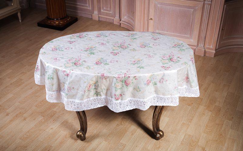 Клеенка на кухонном столе овальной формы
