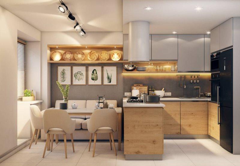 Дизайн кухни-гостиной площадью в 16 квадратов