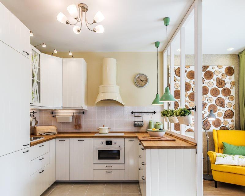 П-образная планировка рабочего места в кухне-гостиной