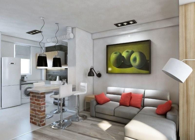 Дизайн кухни-гостиной 18 квадратных метров