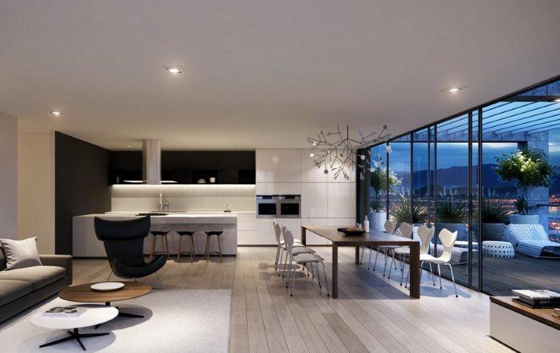 Дизайн кухни-гостиной в стиле хай-тек с панорамными окнами