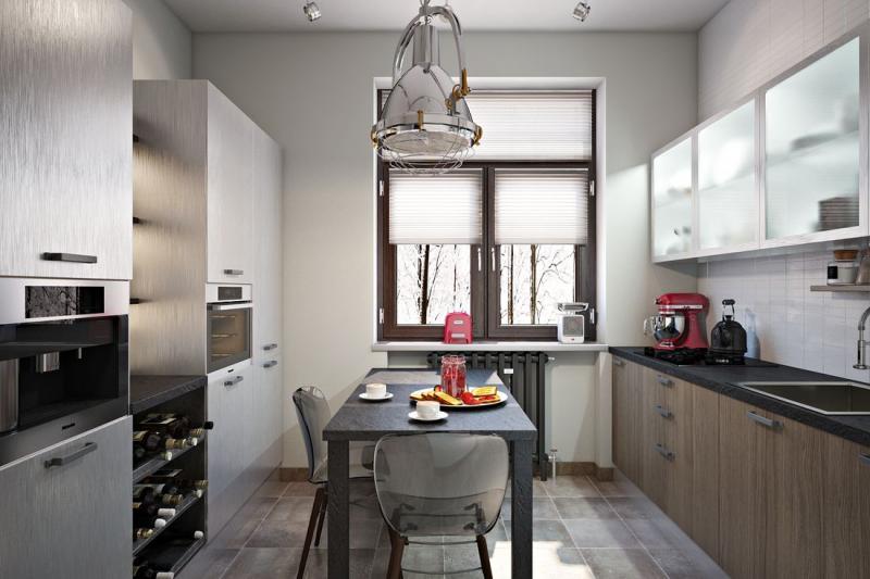 Дизайн кухни площадью 9 кв м с двухрядной планировкой