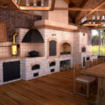 Летняя кухня с мангалом и печкой из красного кирпича