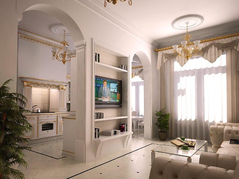 Арки в интерьере классической кухни-гостиной
