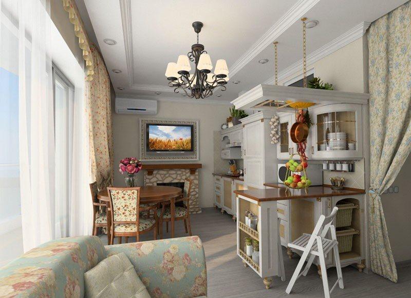 Пестрая обивка дивана на кухне-гостиной в стиле прованс