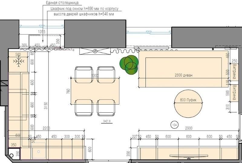 План-схема кухни-гостиной площадью 15 квадратов