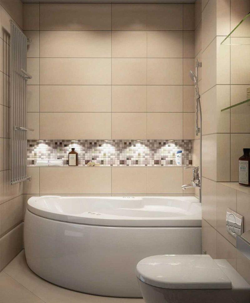 Плитка цвета кофе с молоком на стене ванной