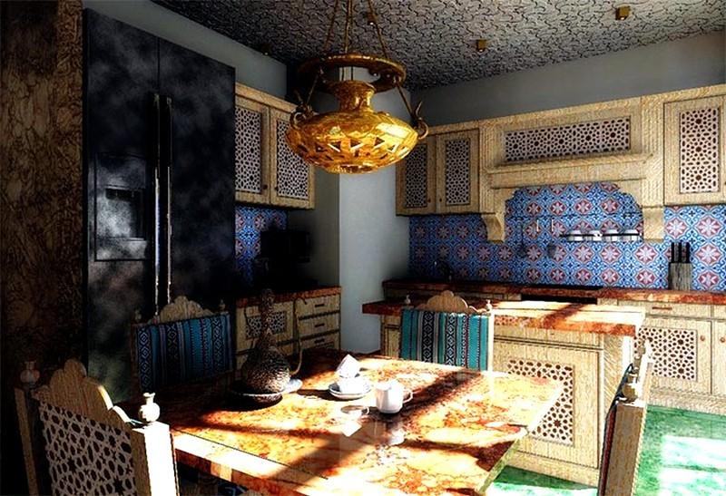 Мозаичная плитка на стене кухни в восточном стиле