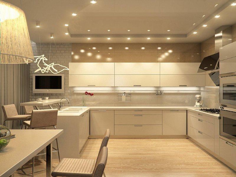 Кухонный потолок с точечными светильниками