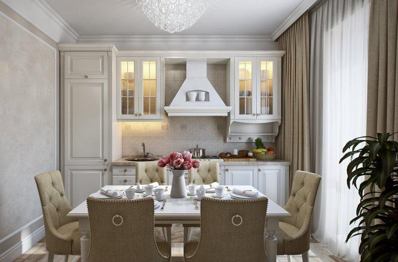Подсветка шкафов в кухне-гостиной стиля прованс