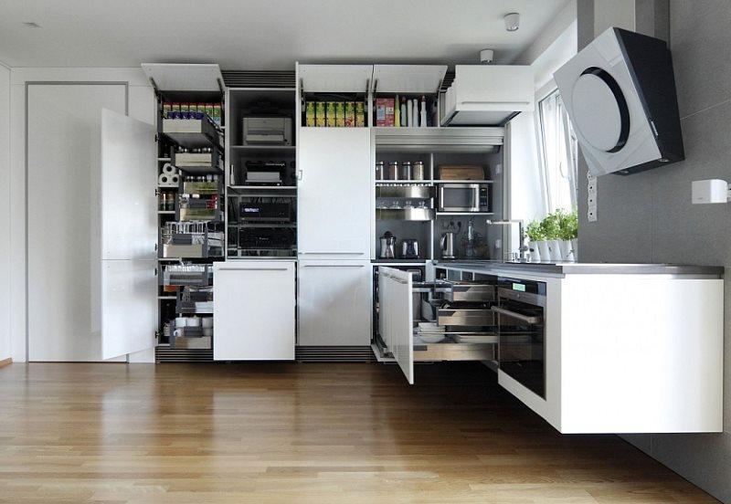 Подвесная кухонная мебель без ножек с креплением на стене