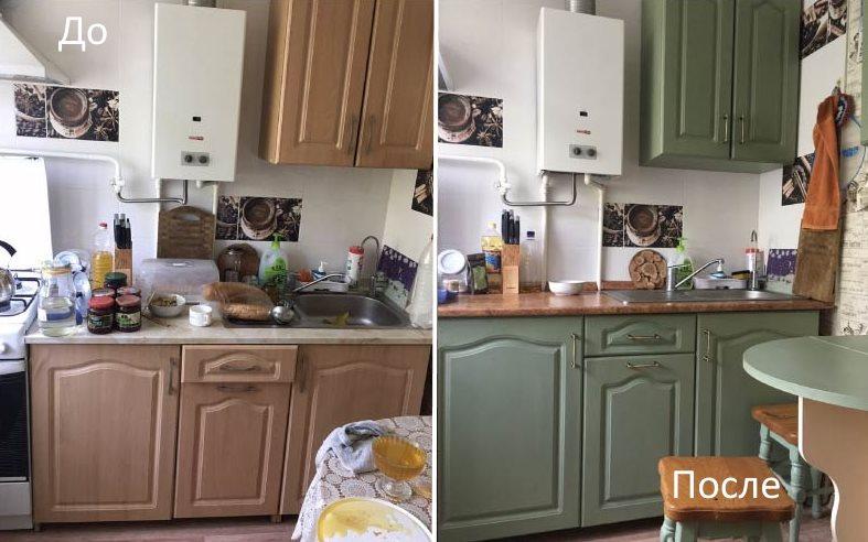 Фото кухонного гарнитура до и после покраски своими руками