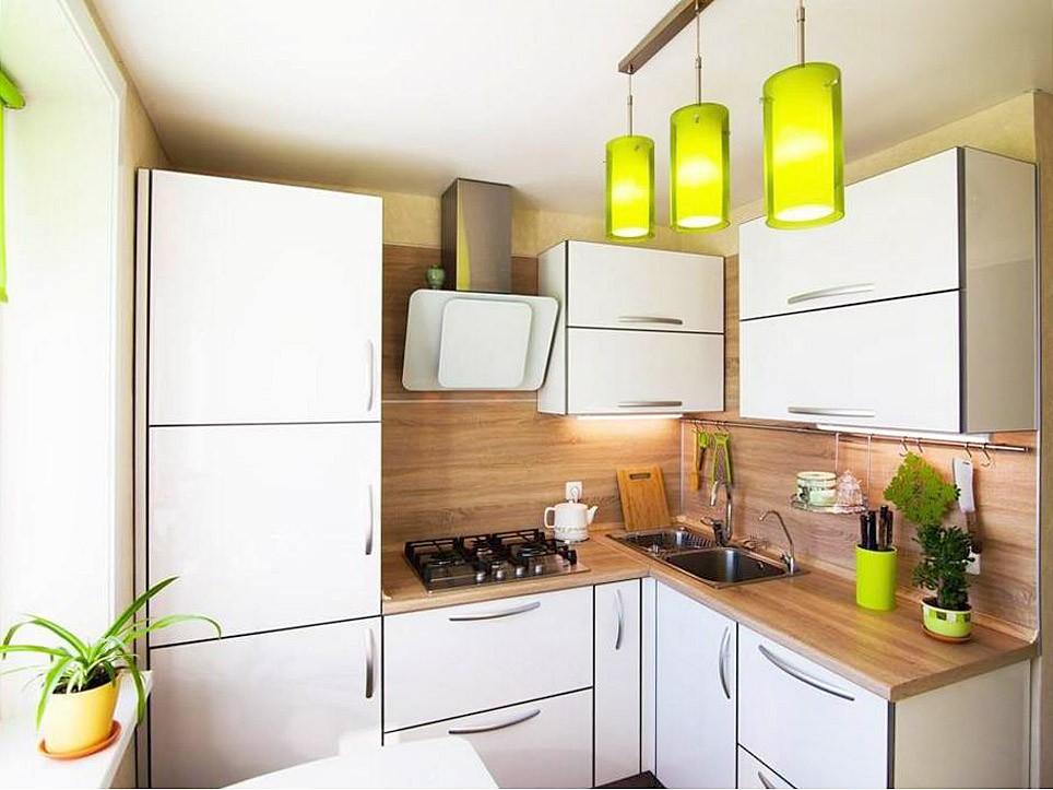 Освещение в кухне с угловым гарнитуром