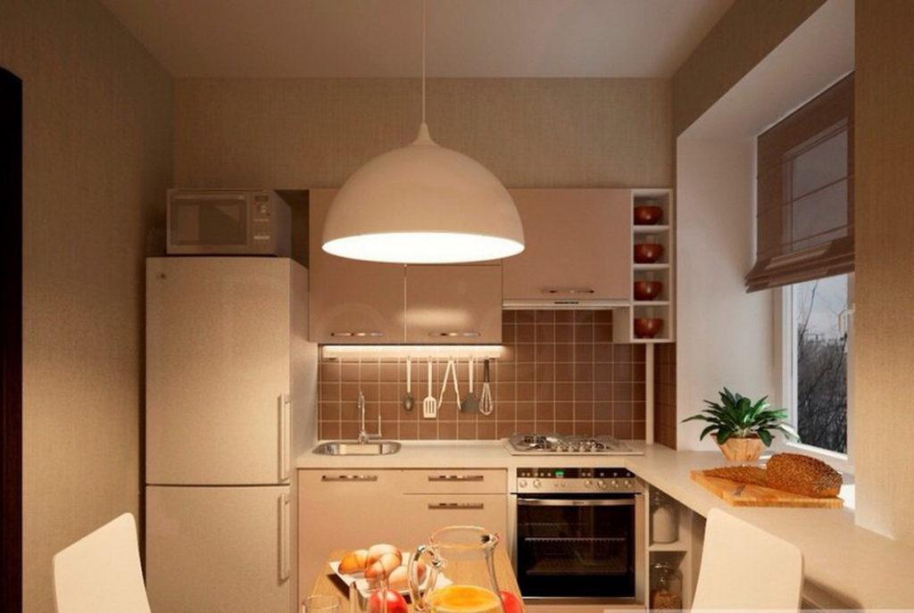 Бежевый плафон кухонного светильника
