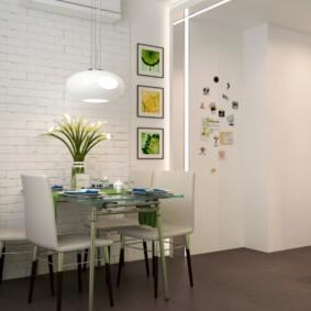 Обеденная зона кухни с современной мебелью