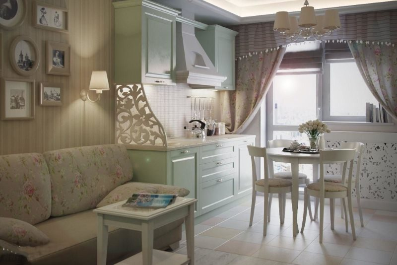 Интерьер кухни гостиной площадью 15 кв м в деревенском стиле