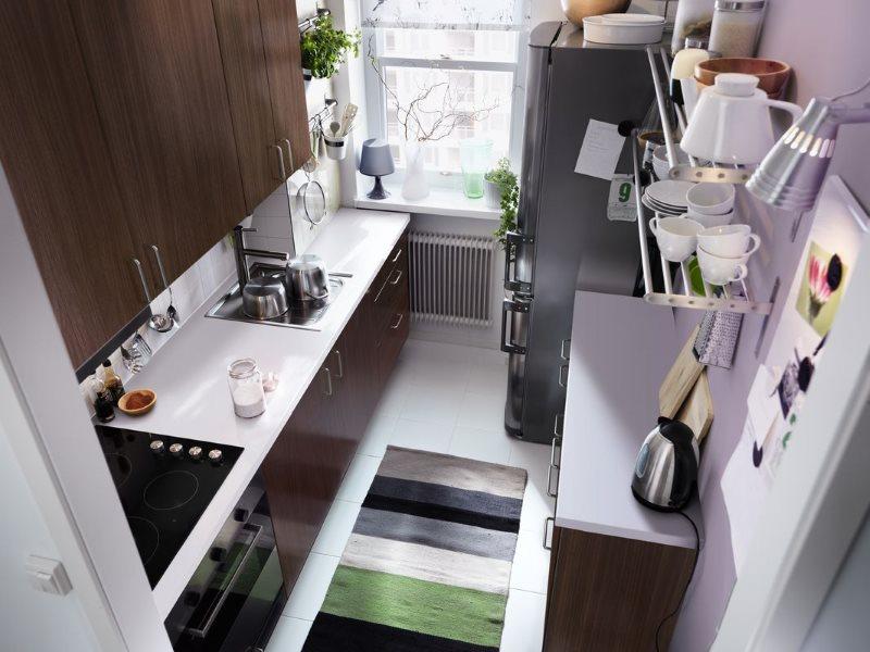 Прямая планировка кухни в хрущевке