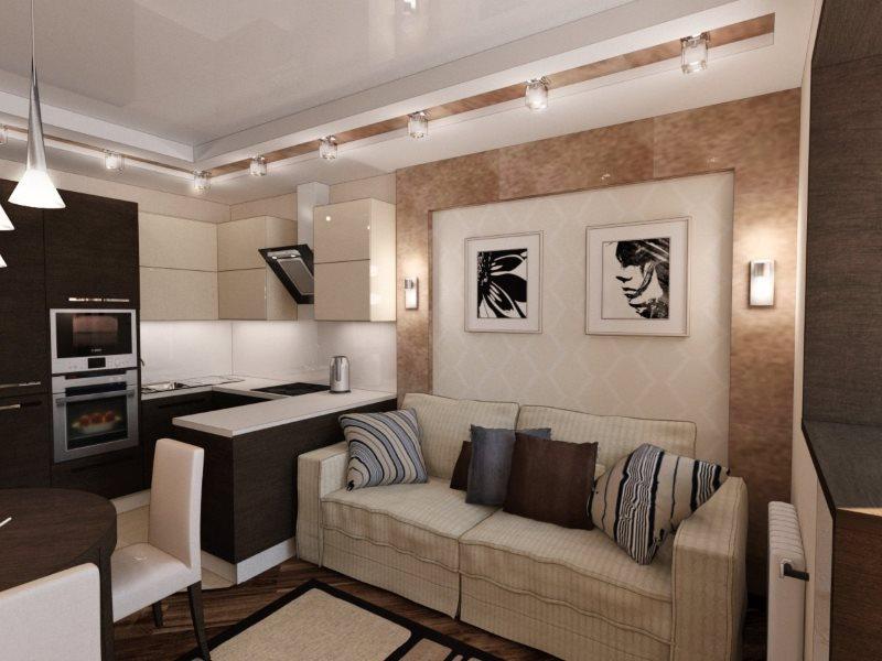 Интерьер маленькой кухни-гостиной с диваном