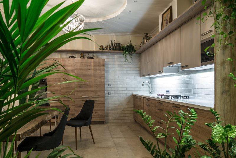 Живые растения на кухне в эко-стиле