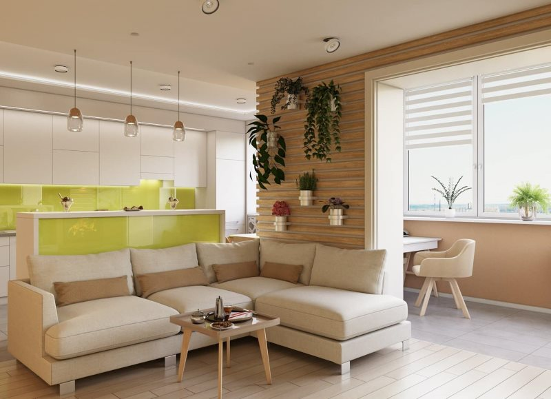 Живые растения на стене кухни-гостиной