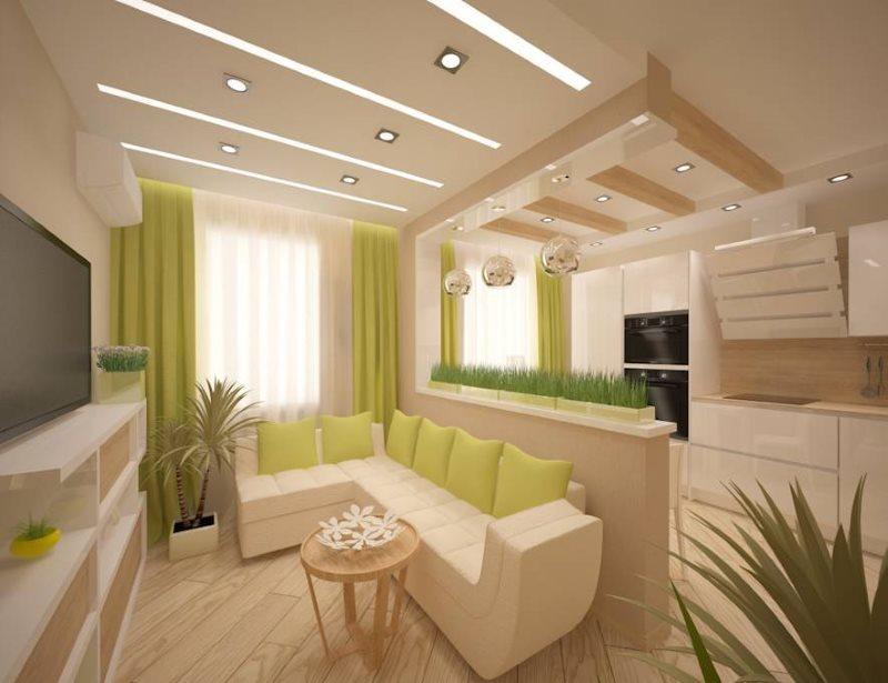 Деревянный пол в кухне-гостиной площадью 18 квадратов
