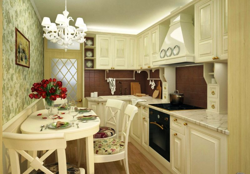 Угловая кухня небольшой площади в классическом стиле